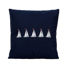 5 Sailboats Coastal Throw Pillow