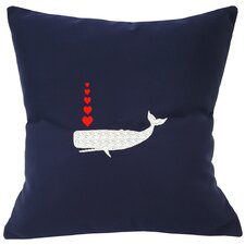 Valentine's Whale and Hearts Sunbrella Throw Pillow