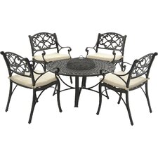 Oregon 5 Piece Dining Set with Cushion and Firepit
