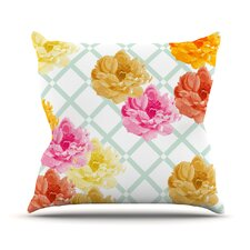 Trellis Peonies Flowers Outdoor Throw Pillow