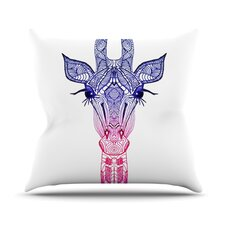 Rainbow Giraffe Outdoor Throw Pillow