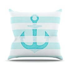 Stone Vintage Aqua Anchor Outdoor Throw Pillow
