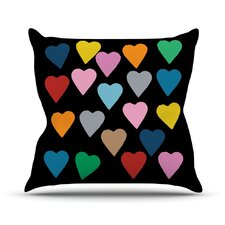 Hearts Color on Black Outdoor Throw Pillow