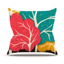 Happy Forest Trees Outdoor Throw Pillow