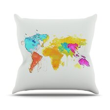 Lovely World Map Rainbow Outdoor Throw Pillow