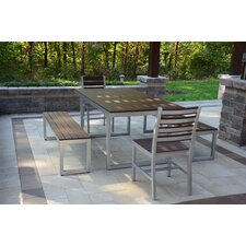 Kinzie Outdoor Modern 5 Piece Dining Set