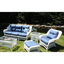 Modern Princeton 5 Piece Outdoor White Wicker
