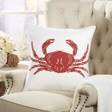 Crab Ocean Life Beaded Pillow Cover