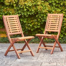 Greco Eucalyptus Folding Chairs (Set of 2)