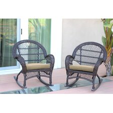 Wicker Rocker Chair with Cushions (Set of 2)