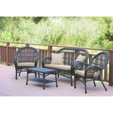 Santa Maria Wicker Conversation 4 Piece Seating Group with Cushion