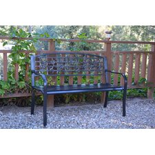 2017 Online Flowers and Bird Curved Back Metal Park Bench
