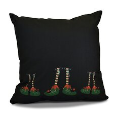 Christmas Elf Feet Outdoor Throw Pillow