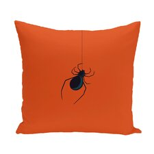Halloween Orange Spider Outdoor Throw Pillow