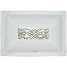 Porcelain Filigree Grate Undermount Bathroom Sink with Overflow