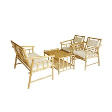 Bamboo Outdoor 4 Piece Seating Set with Cushions