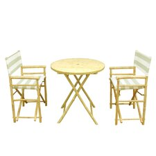 Bamboo 3 Piece Outdoor Dinning Set