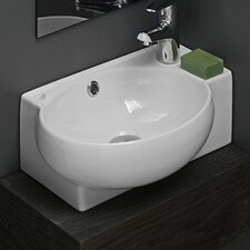 "Mini Curved Ceramic 18"" Wall Mount Bathroom Sink with Overflow"