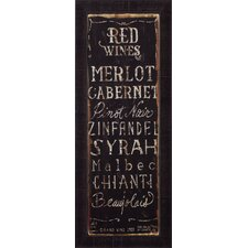 'Red Wines' by Luis Sanchez Framed Textual Art