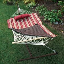 Find 4 Piece Rope Cotton Hammock with Stand Set