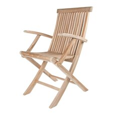 Cheap Solid Teak Classic Folding Dining Arm Chairs (Set of 2)