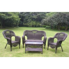 Great price Maui Wicker Resin Aluminum 4 Piece Lounge Seating Group