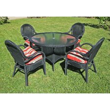 Hampton Outdoor Wicker 5 Piece Dining Set