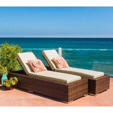 Ohana Double Chaise Lounge with Cushion (Set of 2)