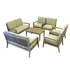 Teak 7 Piece Deep Seating Group with Cushion