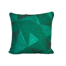 Emerald Geometric Diamonds Linen Throw Pillow