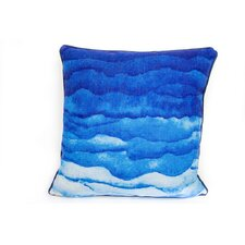 Watercolor Waves Linen Throw Pillow