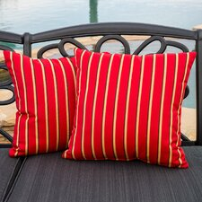 Hardwood Crimson Striped Sunbrella Throw Pillow (Set of 2)