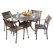 Vigo 5 Piece Cast Aluminum Dining Set