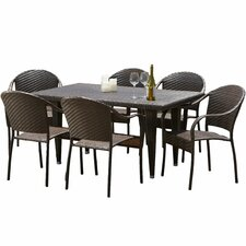 Dimke 7pc Polyethylene Wicker Outdoor Dining Set