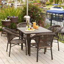 Alsup 5 Piece Outdoor Dining Set