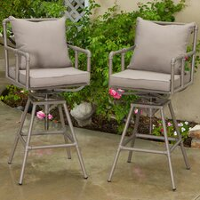 Ablert Adjustable Height Bar Stool with Cushions (Set of 2)