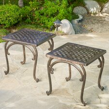 Potenza Cast Aluminum Outdoor Side Table (Set of 2)