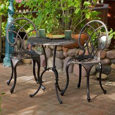 3 Piece Palms Aluminum Copper Bistro Set
