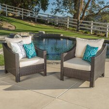 Dragoon Wicker Club Chair with Cushion (Set of 2)