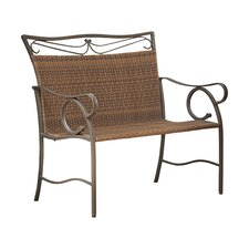 Meetinghouse Iron Wicker Resin Garden Bench