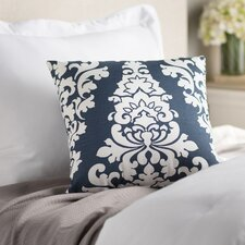 Indoor/Outdoor Damask Cotton Throw Pillow