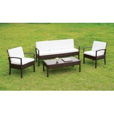 Cool Gardiner 4 Piece Deep Seating Group with Cushion