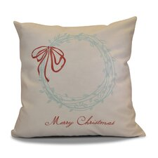 Decorative Holiday Word Print Outdoor Throw Pillow