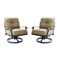 Lebanon Swivel Club Rocking Chair with Cushions (Set of 2)