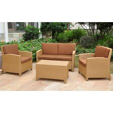 Binney Wicker Resin 4 Piece Deep Seating Group with Cushion