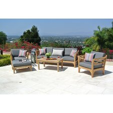 Malibu Outdoor Teak 6 Piece Deep Seating Group Set
