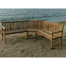 Teak Outdoor Sectional Bench Seating Group with Cushion