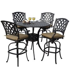 Ocean View 5 Piece Bar Set with Cushions