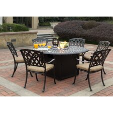 Ocean View 7 Piece Dining Set with Firepit and Cushion