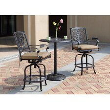 Santa Barbara 3 Piece Counter Height Bar Dining Set with Cushions